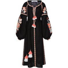 March11 Flower Pixel Maxi Dress ($1,064) ❤ liked on Polyvore featuring dresses, flower waist belt, embroidery dress, embroidered maxi dress, tassel dress and embroidered dress