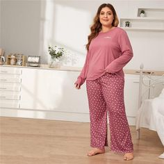 Women's Casual O-Neck Pajama With Print | Plus Size | ZORKET | Material: Polyester, Spandex • Length: Full Length • Collar: Round Neck • Type: Letter, Pajamas • Material: 97% Polyester, 3% Spandex • Obscene Picture: No