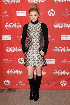 Chloë Moretz warmed up a Christopher Kane shift with knee-high boots and a turtleneck at the premiere of Laggies.