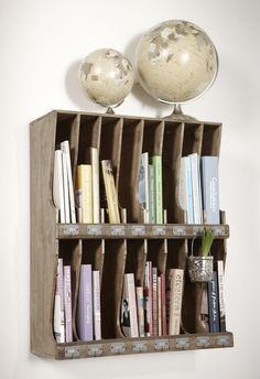Vintage Globes & Re-purposed Shelves - great way to sort and organzie incoming and outgoing mail