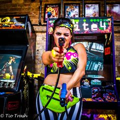 #ArcadePhotoShoot, pow, comic, double dragon, arcade, gamer, nerd, super hero, UrbanOG, Comic book jewelry, Zap, faux hawk, pin up make up