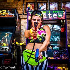 #ArcadePhotoShoot, pow, comic, double dragon, arcade, gamer, nerd, super hero, UrbanOG, Comic book jewelry, Zap, faux hawk, pin up make up