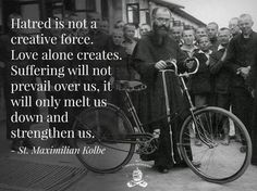 Friar Maximillian Kolbe, imprisoned in Auschwitz during the Second World War, offered himself in exchange for the father of a large family who was condemned to slow death in a starvation bunker. On August 14, 1941, his impatient captors ended his life with a fatal injection.