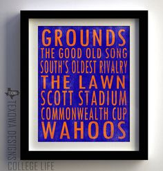 University of Virginia Cavaliers Subway Scroll Art Print. $25.00, via Etsy.