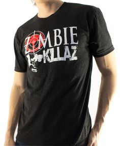 "Men's ""Zombiekillaz"" t shirt by Skinnybuddha clothing company. Available online at www.skinnybuddha.com for $24.96.  Kill some zombies in style!"