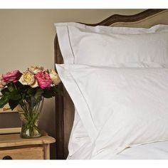 Embroidered Hem Stitch Luxury White Bed Linen - French Bed Linen - French Bedrooms