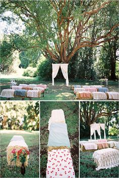 Apple Orchard Wedding loving the drapery, trees and the petal walkway overset with comfy rustic chairs splashed with colour and boho love :)