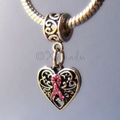 Heart Shaped Breast Cancer Awareness Pink Ribbon by xanaducharms, $4.95