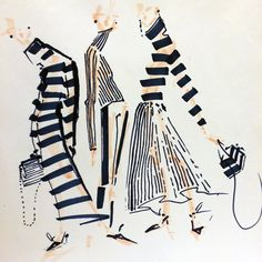 By jenny m walton/markers and microns design fashion illustrations модные и Fashion Illustration Sketches, Fashion Sketchbook, Fashion Sketches, Fashion Images, Fashion Art, Trendy Fashion, Fashion Figures, Fashion Design Drawings, Fashion Portfolio