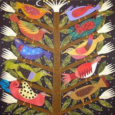 """Night Birds"" Needlepoint Canvas Design by Chris Roberts-Antieau"