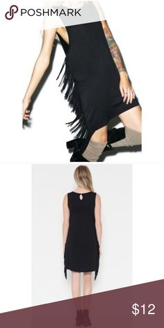❗️CLEARANCE❗️ Black Side Fringe Tunic Dress S M Black side fringe tunic dress, so pretty wear as a dress or long tunic!!  Size small or medium.  No Trades, Price Firm unless Bundled.  BUNDLE 3 OR MORE ITEMS FOR 15 % OFF Boutique Dresses Mini
