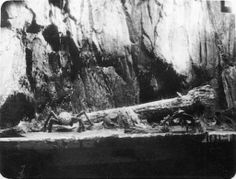 The log the sailors were crossing at the bottom of the ravine