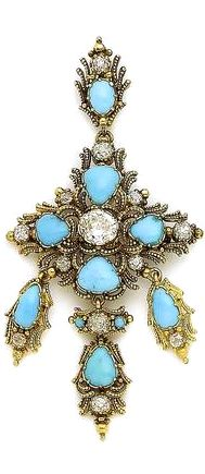 A turquoise and diamond cross brooch/pendant, circa 1840 Centrally-set with an oval-cut diamond, each arm with applied cannetille decoration set with a pear-shaped cabochon turquoise and cushion-shaped diamond accents, suspending a similarly-set fringe, to a detachable surmount, principal diamond approx. 0.90ct, remaining diamonds approx. 0.80ct total, length 7.4cm, fitted case