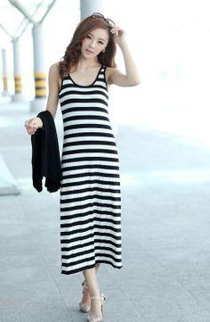 Fashoin Enchating Fashionable Dizzying Blending round neck Sleeveless Striped Fashion Dresses MB238-6 US$15.8