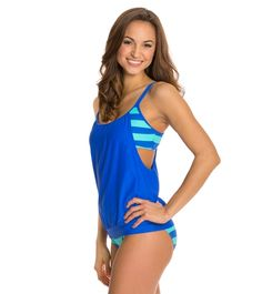 Next Lined Up Double Up Tankini Top at SwimOutlet.com - Free Shipping