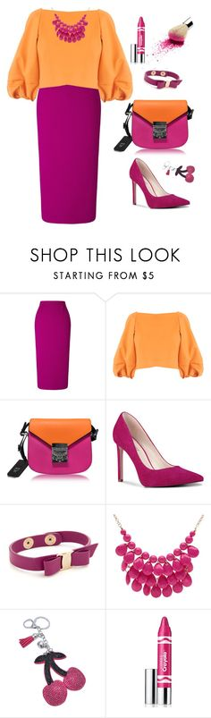"""""""Untitled #1794"""" by ebramos ❤ liked on Polyvore featuring Roland Mouret, TIBI, MCM, Nine West, Salvatore Ferragamo, Alexa Starr and Clinique"""