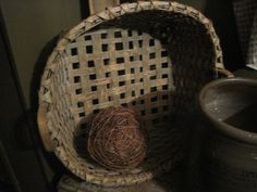 Old Woven Basket.with twiggy ball. Old Baskets, Vintage Baskets, Wire Baskets, Primitive Country Homes, Primitive Antiques, Prim Decor, Country Decor, Tobacco Basket, Wood Bowls