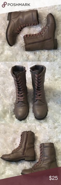 Taupe Combat Boots! These taupe combat boots are from Nordstroms Rack and were only worn TWICE! Excellent quality and true to size! Rampage Shoes Combat & Moto Boots