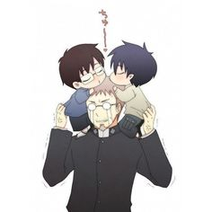 Rin, Yukio y Shiro // Ao No Exorcist-Blue Exorcist. Bahahah, those tears are precious Ao No Exorcist, Blue Exorcist Yukio, Blue Exorcist Cosplay, Rin Okumura, Mephisto, Awesome Anime, Anime Love, Fanarts Anime, Anime Characters