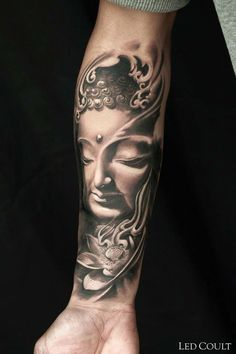 Buddha tattoo on sleeve visual appeal buddha tattoos, buda t Yoga Tattoos, Arm Tattoos, Life Tattoos, Body Art Tattoos, Tattoos For Guys, Tattos, Buddha Tattoos, Buddha Tattoo Design, Ganesha Tattoo Lotus