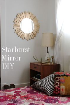 STARBURST MIRROR DIY - Starburst mirrors are so chic in metallics and I'm really loving gold accents lately. I wanted to create something for our bedroom that replaced an old art piece that wasn't really working and that also added more light to a dark corner in that space.