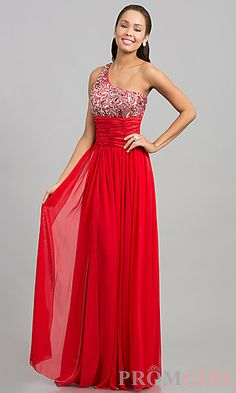 Long One Shoulder Prom Dress at PromGirl.com