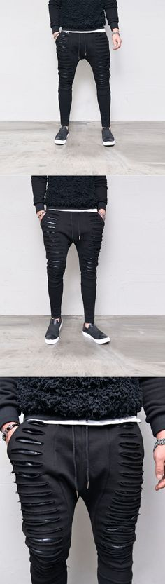 Bottoms :: Razor Damage Leather Layer Baggy-Sweatpants 322 - GUYLOOK Men's Trendy Fashion Clothing Online