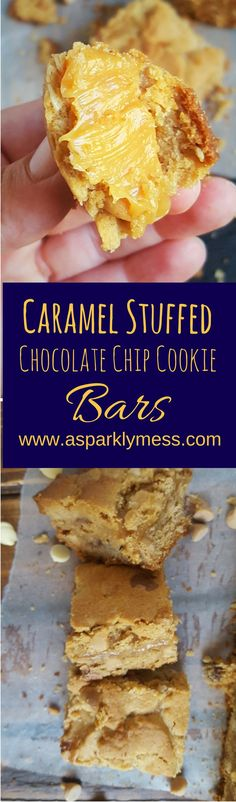 These Caramel Stuffed Cookie Bars are amazing! I mean how could they not be amazing. They are stuffed full with all the best things! Soft chewy peanut butter chocolate chip cookies as a crust on the top and bottom. With an incredible creamy caramel filling. You will not be able to stop eating them and will be fighting over the last crumb.
