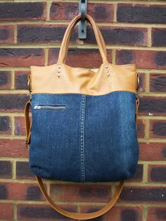 Recycled leather/denim bag- tan leather and stone wash denim tote/ cross body bag, multi wear, with pocket detail.Get 10% off.