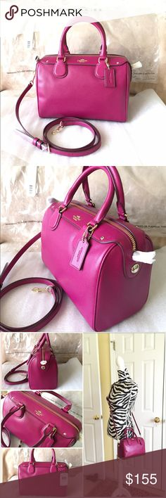 """Authentic Coach Mini Bennett Satchel Authentic Coach Mini Bennett Satchel in Crossgrain Leather. Style F36624. New with tag. Color- Fuchsia with imitation light gold hardware. Dimensions- 9"""" L x 6"""" H x 4.25"""" W & handle drop height 4"""" & a removable/adjustable long strap for crossbody wear. Coach Bags Satchels"""