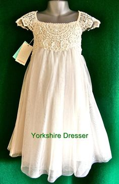 New Bridesmaid Dresses for Girls | New Monsoon Girls Ivory Estella Lace Tulle Party Bridesmaid Dress 3 4 ...