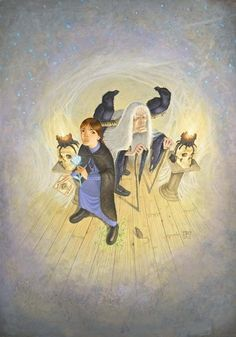 Tiffany Aching, Old Mother Dismass and her ravens, Boffo. http://en.m.wikipedia.org/wiki/Witches_(Discworld) Witches of Discworld.