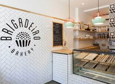 brigadeiro bakery new york — ana strumpf Bakery Shop Design, Coffee Shop Design, Cafe Design, Design Design, Cupcake Shop Interior, Bakery Interior, Plywood Furniture, Brigadeiro Bakery, Small Restaurant Design