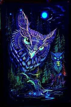 Owl Blacklight Art Nature UV Fluorescent Glow via Fractalika on Etsy Psychedelic Art, Psychedelic Tattoos, Buho Tattoo, Owl Artwork, Owl Wallpaper, Black Light Posters, Banner Backdrop, Owl Photos, Psy Art