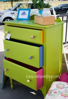 Painted chest with multicolored drawer sides