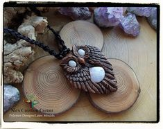 Large Rainbow Moonstone Owl polymer clay Pendant Necklace.