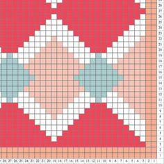 Coral Diamonds Crochet Pattern Blanket Corner to corner Picot Crochet, C2c Crochet Blanket, Diy Crochet, Crochet Wall Art, Tapestry Crochet Patterns, Weaving Patterns, Needlepoint Stitches, Knitting Charts, Loom Beading