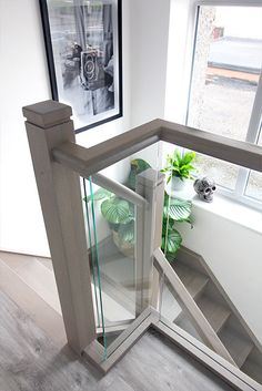 Do you ever wonder how a staircase can be transformed in 48 hours without any structural work required? Watch our team hard at work with the installation of this Grey Wash Oak and embedded glass balustrade Staircase Renovation. Glass Stairs Design, Home Stairs Design, House Design, Interior Stair Railing, Stair Railing Design, Glass Stair Railing, Glass Bannister, Bannister Ideas, Indoor Railing