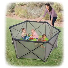 Summer Infant Pop \'n Play Portable Play Yard  Lightweight and portable, the compact design lets you quickly set up a safe play area for your little one at home or at the park. The water-resistant floor keeps out moisture, and airy mesh sides offer added visibility. A handy travel bag with carrying strap adds on-the-go convenience. Compact design Indoor/outdoor use Mesh sides, Water-resistant floor Travel bag included Material: Metal, plastic, mesh, man-made... $79.99