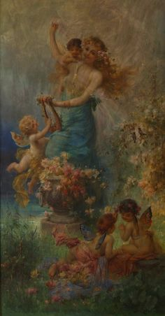 """Hans Zatzka (Austrian, Oil on Canvas """"Spring Song"""" Depicting a young maiden playing the mandolin with a Cherub hovering at her side reading music. Fantasy Kunst, Fantasy Art, Art And Illustration, Images D'art, Female Images, Renaissance Kunst, I Believe In Angels, Inspiration Art, Angel Art"""