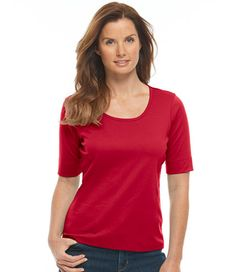 Women's Pima Cotton Tee, Elbow-Sleeve Scoopneck   Free Shipping at L.L.Bean