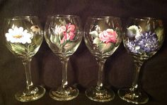 4 Hand painted wine glasses Flowers Personalized by ABeautifulGift, $59.00