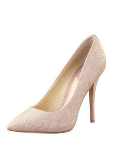 Desire Sparkly Suede-Heel Pump, Buff by B Brian Atwood at Bergdorf Goodman. $350  You must watch the video on the site! Soo sparkly