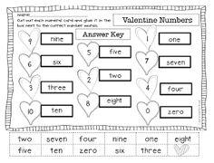 Classroom Freebies Too: Valentine Number Words