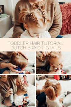 easy dutch (or inside out) braid pig tail tutorial for toddler girl's hair // easy toddler hairstyles