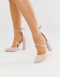 wedding shoes Glamorous Wide Fit blush block heeled tie up pumps Prom Heels, Pumps Heels, Heeled Sandals, Gold Pumps, Tie Up Heels, Shoes For Prom, Pink Prom Shoes, Stiletto Heels, Homecoming Shoes
