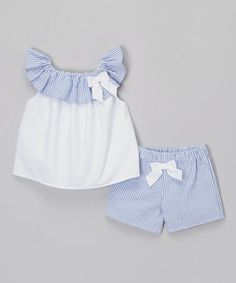 Another great find on #zulily! White & Blue Seersucker Bow Top & Shorts - Infant & Toddler #zulilyfinds