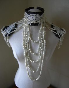 Pearls Dream - Cocoa brown Leather ruff, lace and pearl draping collar with epaulettes. $475.00, via Etsy.