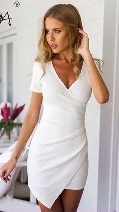 Plain Irregular Pleated V-neck Mini Dress | GonChas