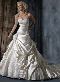Ambrosia, ball gown, beaded, ruching, pick-up skirt, strapless, empire waist, satin, Madeleine's Daughter Bridal Inventory